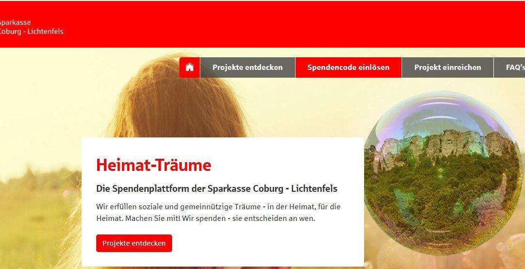Sparkasse Coburg unterstützt TSV durch das Projekt: Heimat-Träume